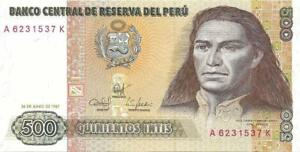 PERU 500 Intis 💴🌎 P- 134b, UNC from 1987 🌎💴 Beautiful Note