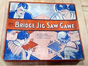 Vintage 1930's Bridge Jig Saw Game - 4  interlocking puzzles - original box GC
