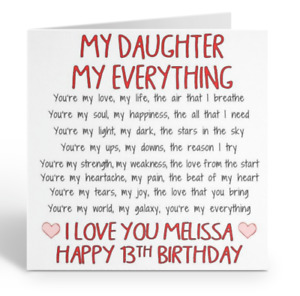 PERSONALISED MY DAUGHTER BIRTHDAY CARD ANY AGE 13TH 16TH 18TH 21ST 25TH 30TH