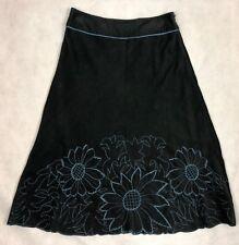 Monsoon Corduroy Embroidered Skirt Black Teal Size 8