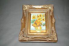 Bild  Sonnenblumen Öl auf Leinwand  goldener Rahmen  24 cm x 29 cm Reproduktion
