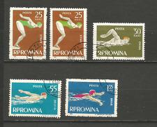 natation 1963 Roumanie 5 timbres oblitérés /T4316