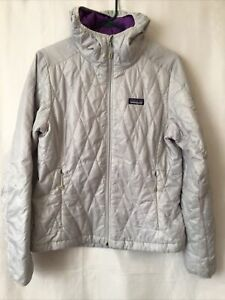 Patagonia Primaloft Woman Nano Puff Insulated Light Gray Jacket Zip Up Sz Medium