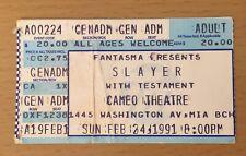 1991 Slayer Testament Miami Concert Ticket Stub Reign In Blood Souls Of Black