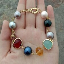8'' Multi Color Sea Shell Pearl Crystal Bracelet