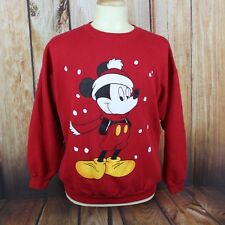 Mickey Mouse Men's Sweatshirt XL Vintage Crewneck Red Christmas 90's Disney