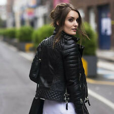 Designer Stylish Quilted Wear Lambskin Real Leather Biker Jacket For Women UW26