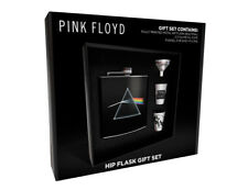 PINK FLOYD DARK SIDE OF THE MOON STAINLESS STEEL HIP FLASK GIFT SET