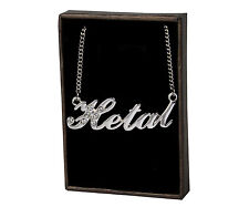 """Name Necklace """"HETAL"""" - 18ct White Gold Plated - Made With Swarovski Elements"""