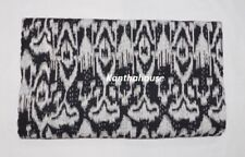 Indian Ikat Print Black Kantha Quilt Cotton Twin Blanket Ethnic Ralli Gudari