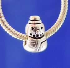 Snowman Snow Man Christmas Holiday Winter Silver European Charm Bead