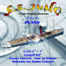 """Full Size printed Plans Clyde Paddle Steamer scale 4""""=1' L 63""""  Suitable for R/C"""