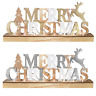 Merry Christmas Light Up Sign Wooden Reindeer LED Indoor Ornament Decorations