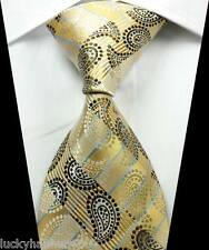 New Paisleys Stripes Beige Black Blue JACQUARD WOVEN 100% Silk Men's Tie Necktie