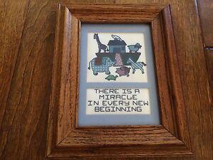 "Noah's Ark nursery decor ""miracle in every beginning "" wood framed wall art blue"
