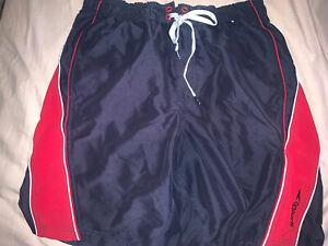 Speedo Mens Boardshort Swim Trunks Size M Comfort Stretch Black/Gray