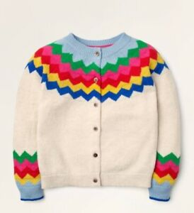 Mini Boden Girl's Sweater Cosy Fair Isle Cardigan Ecru Rainbow Size 3Y-4Y
