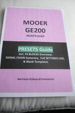 MOOER GE200 Presets Guide & Settings Log  + TEMPLATES (Secured PDF)