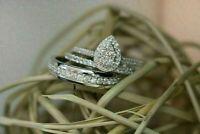 2.00 CT Round Cut Diamond 14K White Gold Over Vintage Engagement Bridal Ring Set