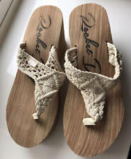 Lovely Rocket Dog Cream Crotchet Wedge Sandals Size 8