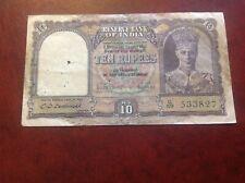 10 India Rupee banknote dated 1943 GeorgeV1 Back Dhow signature Deshmukh
