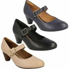 100% Leather Mary Janes Wide (E) Heels for Women