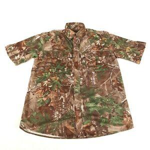Redhead Mens Shirt Medium Realtree Hardwoods Camo Short Sleeve Pockets