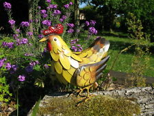 Metal Chicken Hen Garden Ornament Hand Painted Free Delivery