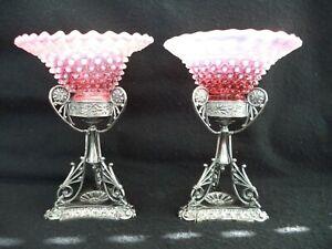 Silverplate Art Nouveau stands w 2 cranberry opalescent hobnail bowls compotes