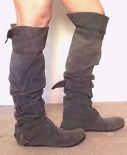 Steve Madden gray suede knee high boot w/belts, buckles and top cuff Size 7 EUC