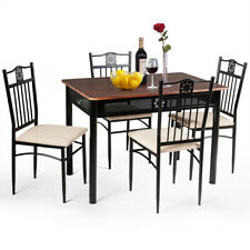 Topbuy 5 Piece Dining Set Wood Metal Table and Chairs Kitchen Furniture