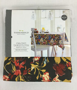 """Threshold Wild Flower Tablecloth 52x70"""" NWT Oblong Seats 4-6 Brown Blue Mustard"""