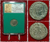 Ancient Roman Empire Coin Of GRATIAN Emperor Dragging Captive Dramatic Coin!
