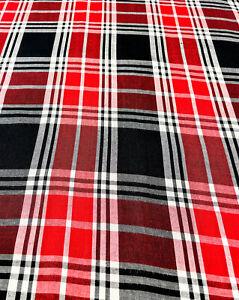 "Check Plaid Shirting Red Black White Rayon Apparel Clothing Fabric Soft 44"" Wide"