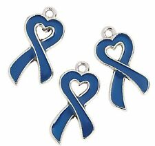 36 BLUE Ribbon Hearts Metal Charms Child Abuse Prevention Colon Cancer Awareness