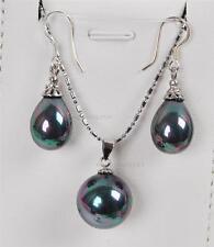 "Rainbow Black Shell Pearl Earrings(12x16mm)/ Pendant(16mm) Necklace Set 17"" AAA"
