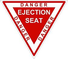 1x DANGER EJECTION SEAT RED WARNING VINYL STICKER BUMPE