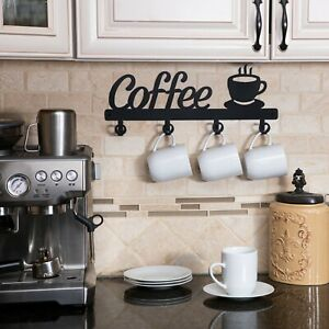Coffee Decor Kitchen Wall Decor Coffee Bar Mug Cup Rack Holder Display Cafe