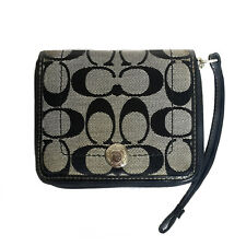 COACH BLACK SIGNATURE SMALL ZIP AROUND WALLET
