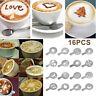 ITS- Chic 16pcs DIY Coffee Decor Tool Set Stencils Cappuccino Mold Latte Art Bar