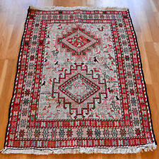 Soumak Kilim Handmade Vintage Traditional Oriental Wool Rug 100 X 75cm