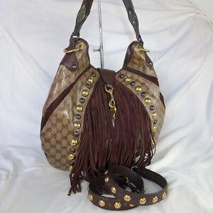 Authentic Rare Gucci Babouska GG Crystal Canvas Large Indy Hobo Shoulder Handbag