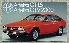 ALFA ROMEO ALFETTA GT1.6 & GTV2000 AUTO BROCHURE DI VENDITA 1976 #765 e 435