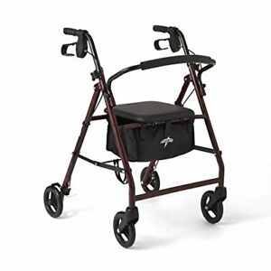 Walking Rollator Walker With Seat 4 Wheels Bag Rolling Folding Adult Heavy Duty