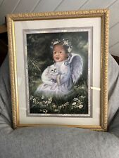 African American Angel Toddler Child Kitty Cat Matted Framed 22x18 Ornate Frame