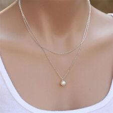 Women Charm Pearl Choker Chunky Statement Bib Necklace Jewelry Chain Pendant