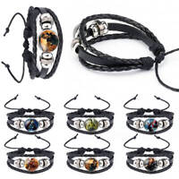 The Avengers Bangle Leather Bracelet House Stark Black Multi-layer Jewelry Chain