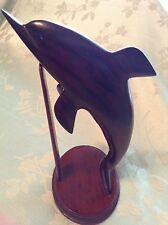 """STUNNING CARVED WOOD FIGURINE STATUE DOLPHIN 9"""" WOODEN STAND"""