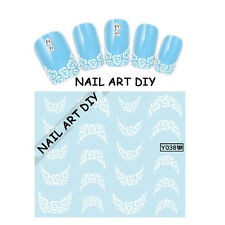 20 Nail art water sticker transfers-FRENCH-Adesivi bianchi per unghie con Fiori!