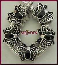 5 Antique Silver Black Butterfly Spacer for European Bracelet Ship from USA S058